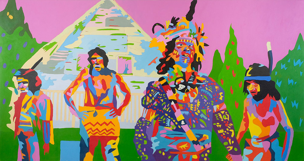 """RETURN TO SPIRIT RIVER or Meeting the In Laws as told by my Mother PART 6: THE MANSION  52""""x96"""" Acrylic On Canvas"""