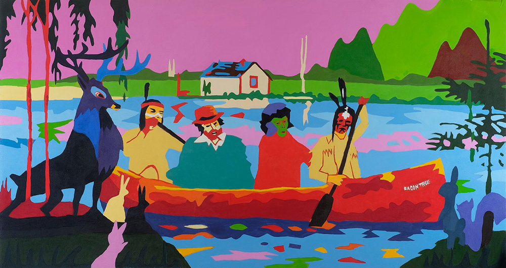 """RETURN TO SPIRIT RIVER or Meeting the In Laws as told by my Mother PART 5: THE ARRIVAL  52""""x96"""" Acrylic On Canvas"""