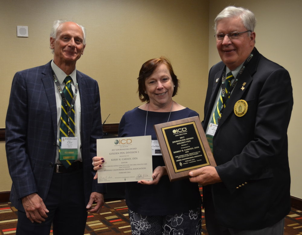 DSC_0136-crop-Andrea La Mattina, CDE- accepts for Journal of California Dental Association Editor, Kerry Carney, CDE from ICD Chair Eliot Paisner and Leighton Wier..jpg