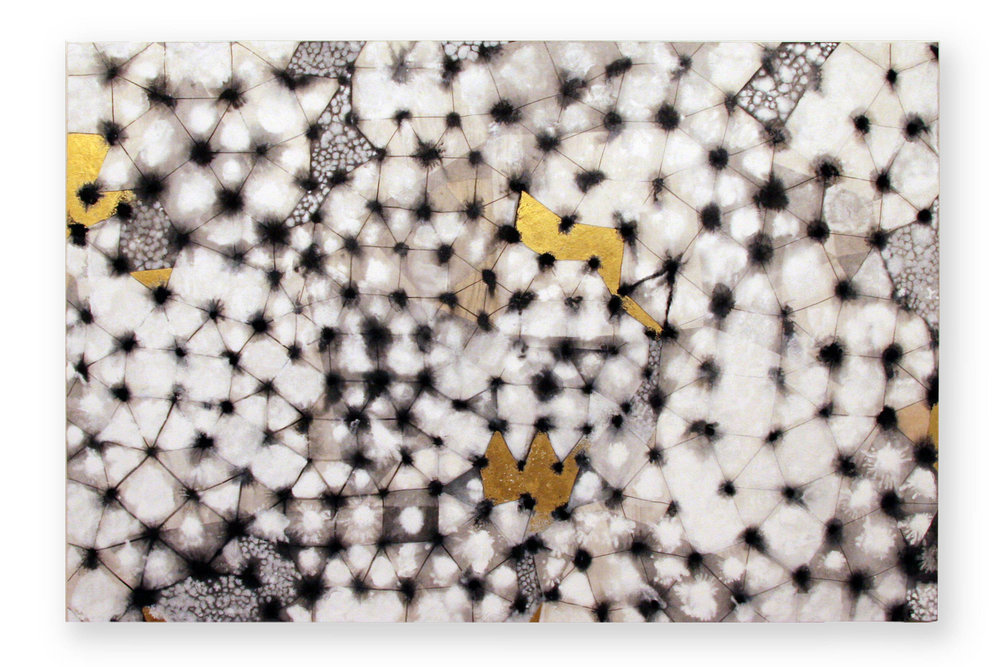 Yukimi   pigment in size and gold leaf, Japanese paper on panel  120 x 80 cms