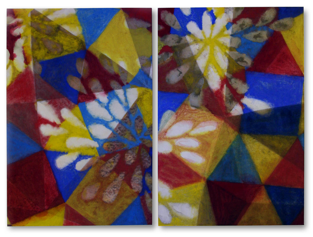 Impressions II  pigment in size, Japanese paper on panel  diptych, 120 x 80 cms x 2 panels