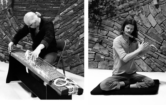 Cumulus : The harvesting of plant frequencies paired with two of the world's most meditative musical instruments and traditions – Indian bansuri and Japanese koto. The result: an ambient world music fusion all its own, at once quickening yet meditative, ancient yet futuristic, transcendent yet worldly.        See them on youtube                             Peter Coates  lived and worked in Japan during the late 1980s and most of the 1990s. During this time he studied koto at the Sawai School of Music, graduating as sensei in 1997.  Since then he has played at many musical venues and festivals in Japan, Europe and the US, including most notably, Glastonbury Festival, England, in 2000. Since leaving Japan he has developed his own style of playing that derives much from his training in Japan, but is informed by a wide variety of musical styles from around the world, both traditional and modern. Peter has also pursued a fascination in electronic music, and since moving to the U.S. in 2015 has been creating ambient audio soundscapes from the electrical impulses emitted by plants. He calls this his musical collaboration with nature.      Eric Archer  is a multi-instrumentalist (fingerstyle guitar, tabla, bansuri and native-style flutes), visual artist, and poet drawing inspiration from nature and its bounty. He has performed in varying settings in the United States and in Europe, and is happy to call the Hudson Valley of New York his home. Exploring collaborations as diverse as americana, trip-hop, kirtan, folk, meditative, celtic, ambient, and Indian-classical, Eric aims to continually expand his own sounds and tastes to offer a unique feel to the universal language.  Eric has taught and played music at the Omega Institute for Holistic Studies as the Bard/Musician-in-Residence, and as a staff-instructor. He was also one of the Innkeepers of the historic Sunnybank Inn in Hot Springs, NC — a focal point within the tradition of Southern balladry, Appalachian roots music, and Scotch-Irish folk songs. Eric continues to collaborate with Prema Mayi and Radharani on their mantra music fusion, and accompany Biff Mithoefer in his Yoga Teacher Trainings — pairing music with these deeply meditative and educational settings. Eric is a tabla student of Sri Suryaksha Desphande of the Farrukhabad Gharana, and a bansuri flute student of Grammy-Award winner Steve Gorn. Eric synthesizes these eclectic musical threads into a sound that is at once both traditional and modern.
