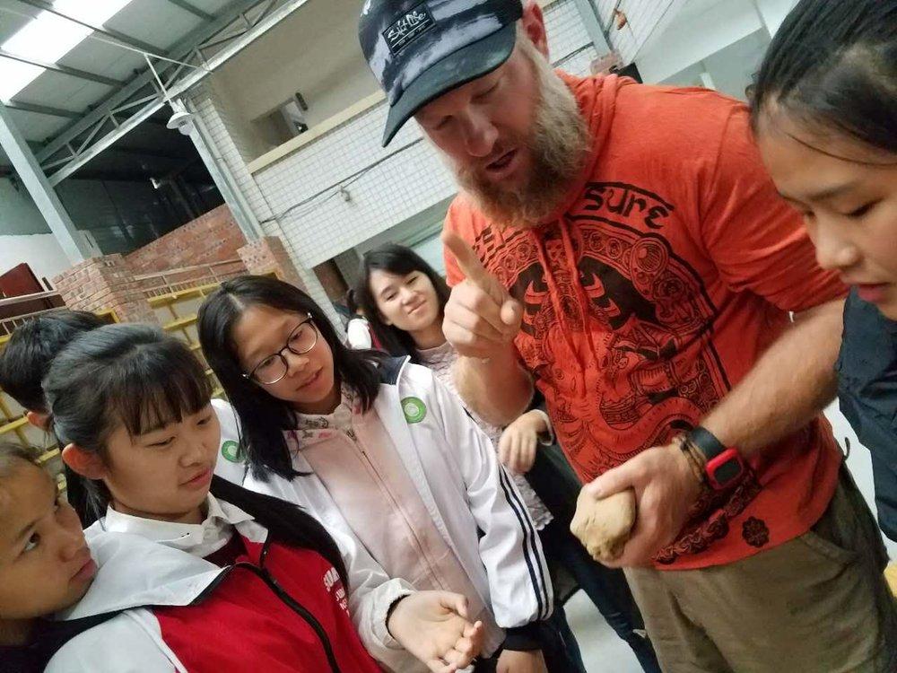 Kohl teaching in Yizhou, Guangxi Autonomous Region, China