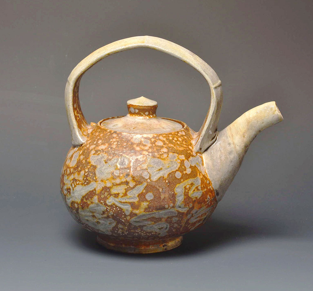 """2. Faceted Teapot with Markings , wood-fired, salt-glazed stoneware, 8.5""""h (2016)"""