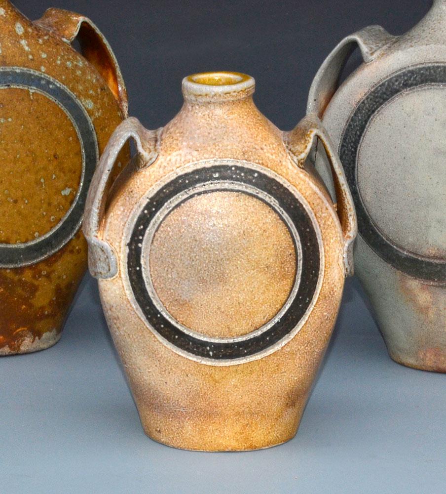"7. Wide Handled Paddled Flask Group , wood-fired, salt-glazed stoneware, tallest 9""h (2016)"