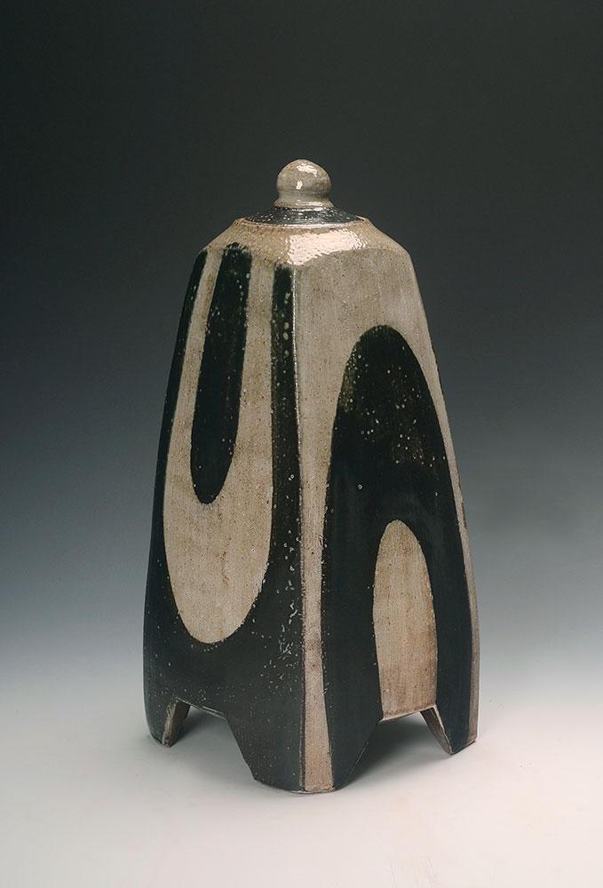 "10. Square Footed Lidded Jar with U's , wood-fired, salt-glazed stoneware, 14""h (2017)"