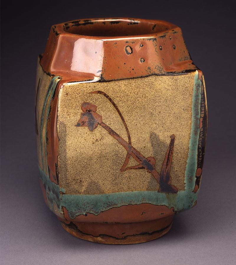 """Shoji Hamada, (1894-1978) Squared Vase ,  8 1/2"""" x 5 1/2"""" x 5 3/4"""""""