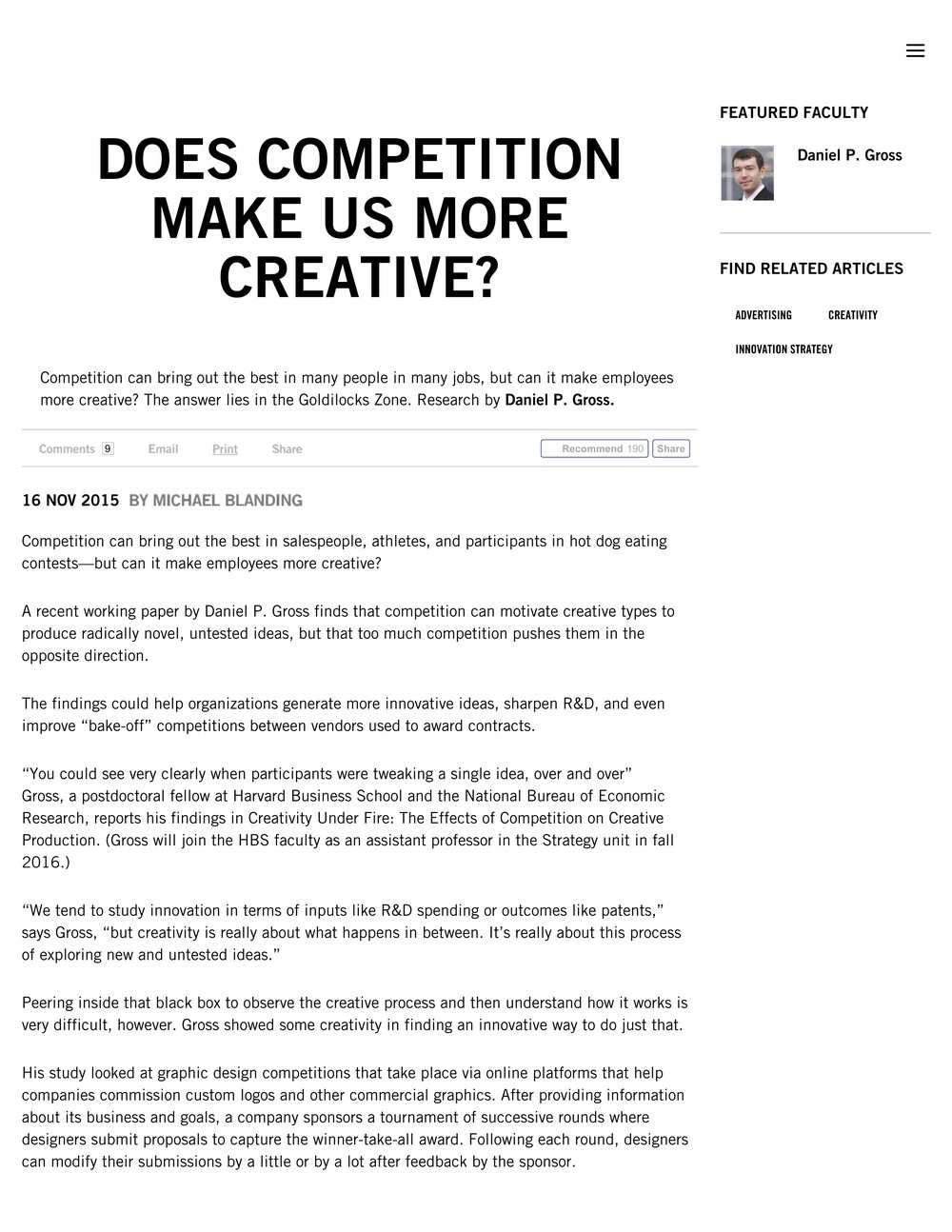 Does Competition Make Us More Creative? -