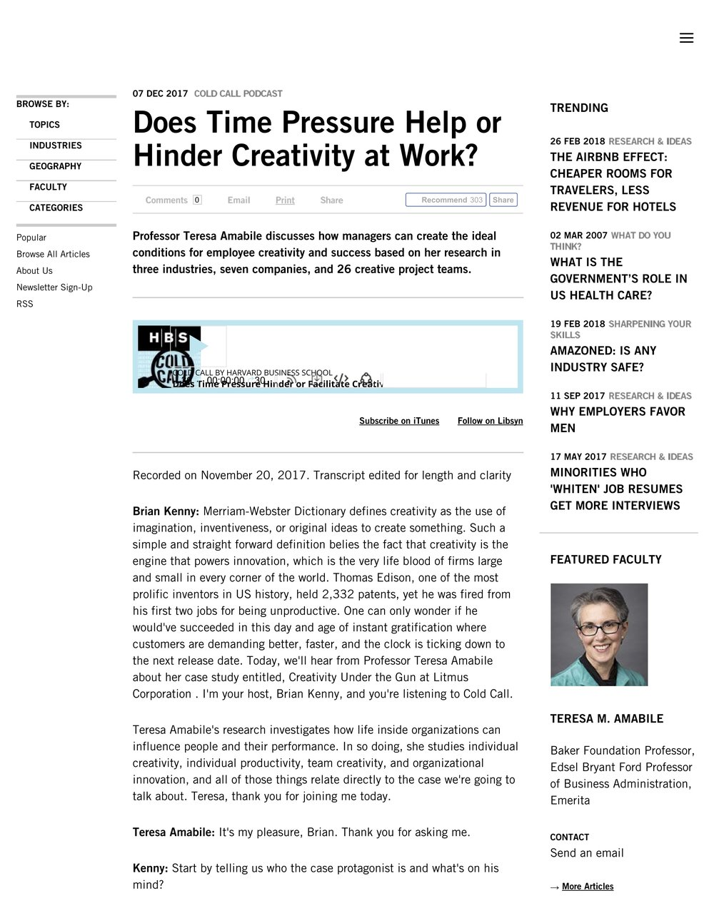 Does Time Pressure Help or Hinder Creativity at Work? -