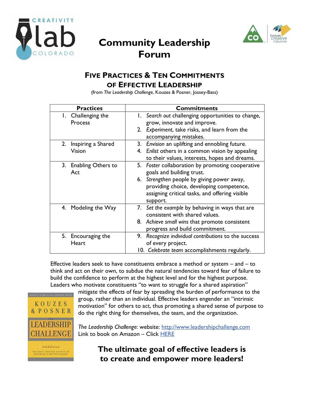 Five Practices & Ten Commitments of Effective Leadership -
