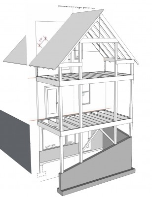 sketchup model of the Perry Road house porches