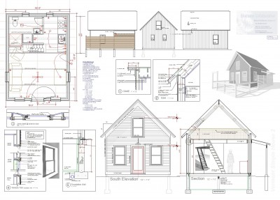 Plan sheet for 16' x 22' Brattleboro Tiny House