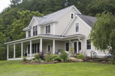 Modern Greek Revival farmhouse addition in Newfane Vermont