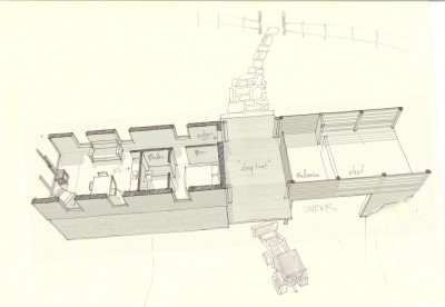 plan section for guest house - power house - gatekeepers cottage - gardeners cottage