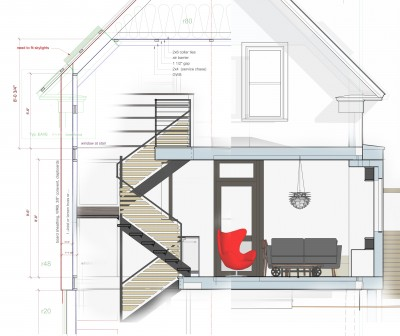 composite section showing stairs, construction details, interiors and exterior trim