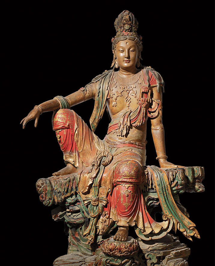 Guanyin of the Southern Sea, Chinese, 11th/12th century, Liao (907-1125) or Jin Dynasty (1115-1234).  Wood with polychrome, 95 x 65 inches (241.3 x 165.1 cm). The Nelson-Atkins Museum of Art, Kansas City, Missouri. Purchase: William Rockhill Nelson Trust, 34-10.  Photo: Jamison Miller
