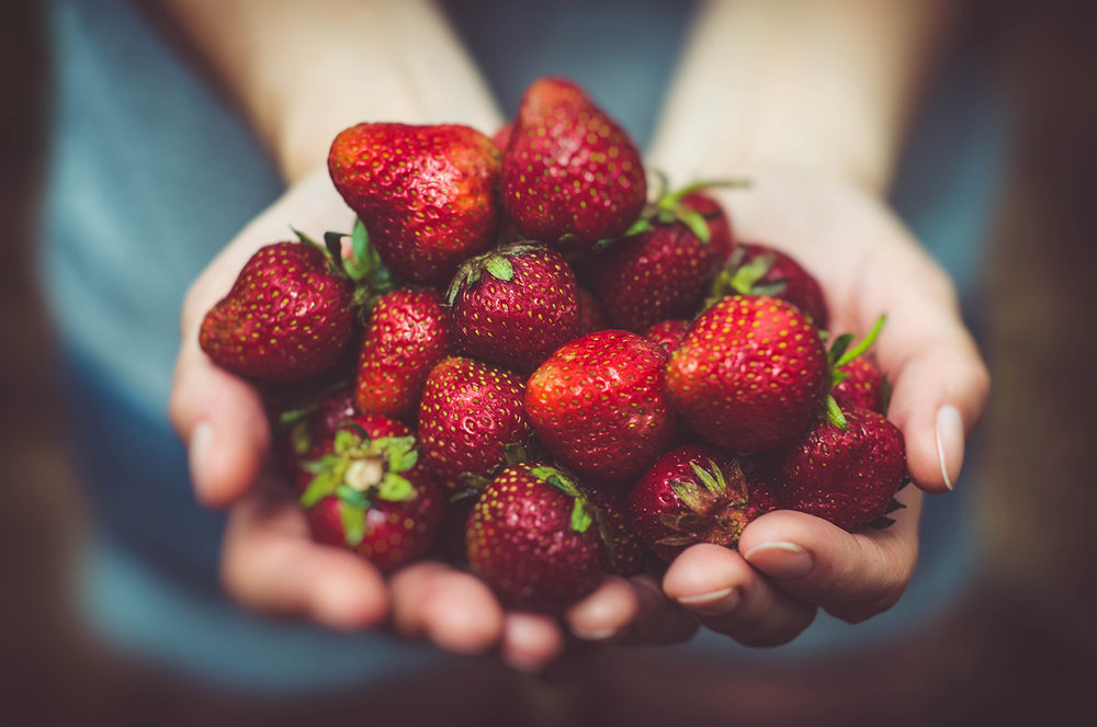 A handful of ripe succulent strawberries