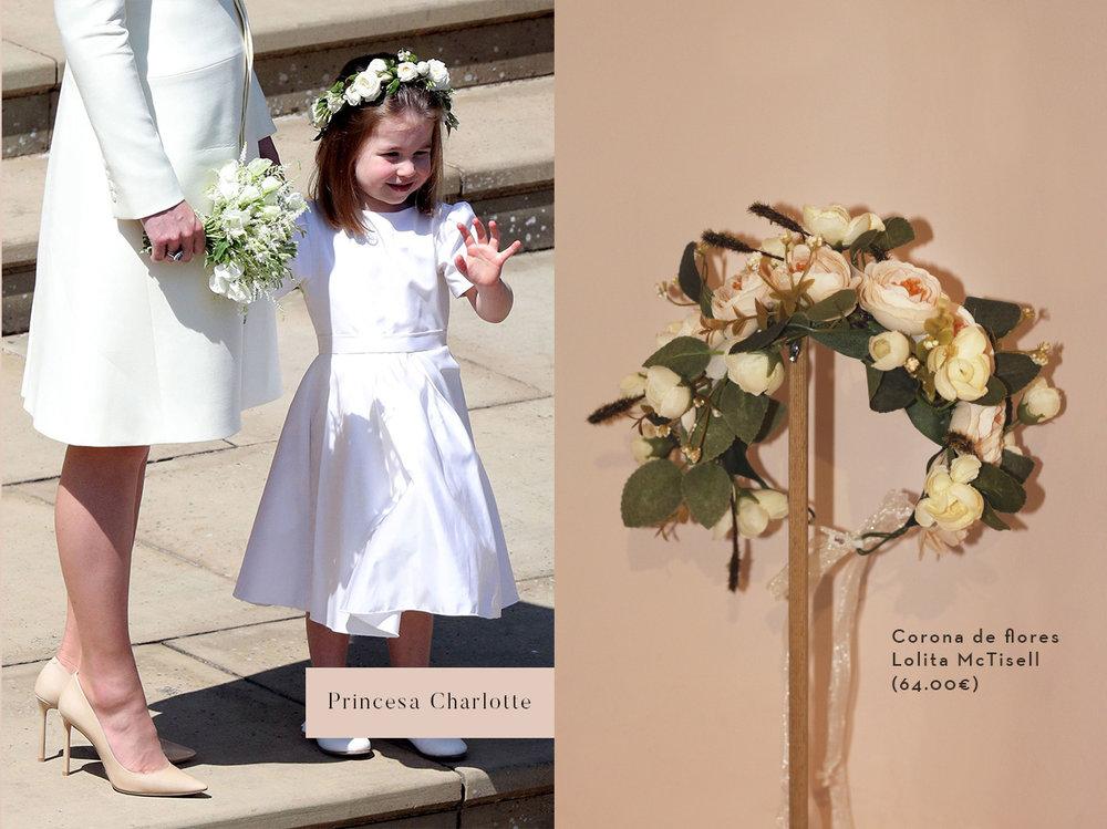 La princesa Charlotte con corona de flores en la boda de sus tíos Harry y Meghan.