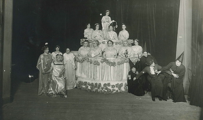 """On February 13, 1914 the drama club, one of several sections of the Ladies' Literary Club, performed """"Birthday Cake,"""" a playlet written by club members at the new club house on So Temple. Image courtesy of Utah State Historical Society."""