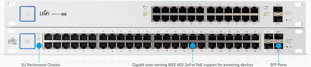Versatile Port Configuration  Sixteen Gigabit RJ45 ports offer different power output options: auto-sensing IEEE 802.3af/at PoE/PoE+ and 24V passive PoE, and two SFP ports provide optical fiber connectivity options to support uplinks of up to 1 Gbps