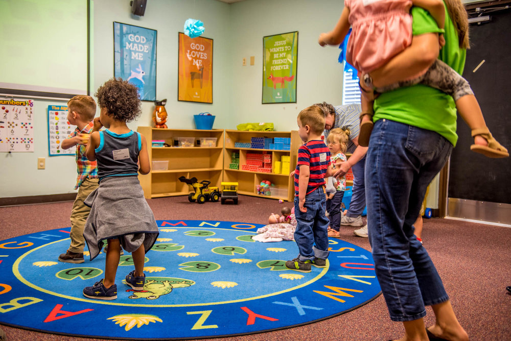Toddlers (age 2) - Toddlers consists of children age 2. We value active play where the Bible is taught through engaging stories, activities, and fun worship songs with motions and movement.