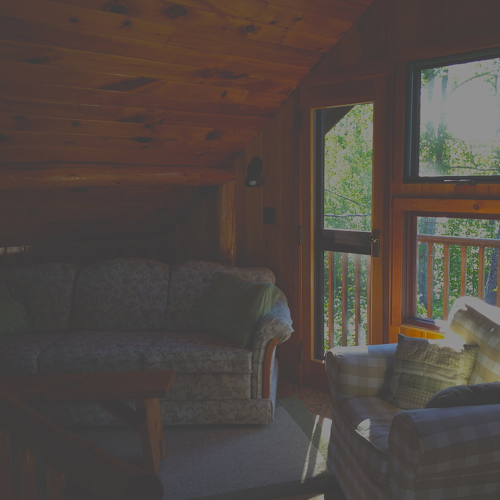 Loon  - 2 bedrooms (double bed/writing desk  in each); loft/work-space (single bed, sleeper couch, desk); kitchen; bathroom; dining-living area with wood stove; deck with lake view plus screened in porch.Standard Rate: $2130/wkArtist Rate: $1065/wk