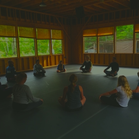 The Aerie - Our recently completed rehearsal and performance space boasts a dancer-friendly Harlequin floor, with views of trees and lots of breeze. A new sound system and great acoustics allow for live concerts, dance, and all kinds of movement. Weekly yoga.