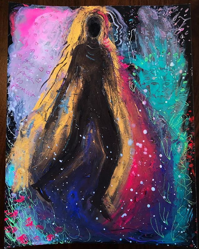"""You don't need permission to step into your power"" This is why I ❤️ painting too. I started this one thinking I knew what I was going to paint about, then fought with that for awhile as nothing was flowing. I painted over it & started over, listening and feeling rather then forcing an idea. I also answered my own question to the energy that was bothering me this morning, as I didn't know what it was. Thanks creative insights, spirit 🦋💖✨ #painting #artstudio #art #psychicmedium #creative #mediumshipdevelopment #meditation #women #intuition #instaart"