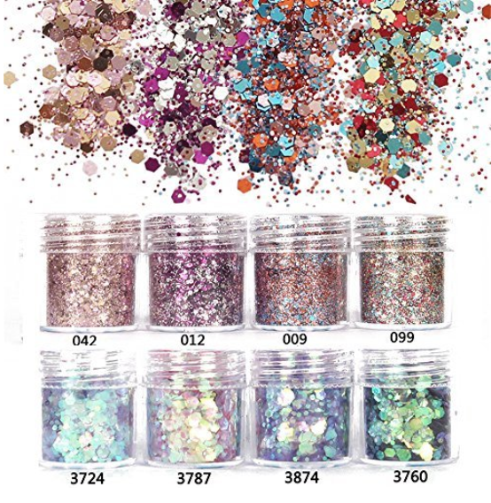 NICOLE DIARY 8 Boxes Nail Glitter Chunky Sequins