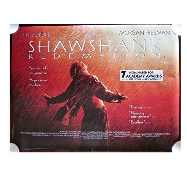 SHAWSHANK REDEMPTION - ORIGINAL 1994 BRITISH QUAD POSTER - PRISON ESCAPE CLASSIC