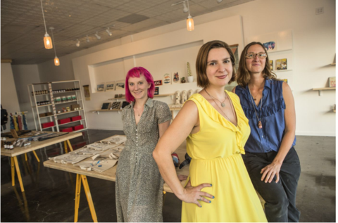 LA County Store owner MaryAnne LoVerme (center), and artists Margaret Gallagher and Sara Vandersall