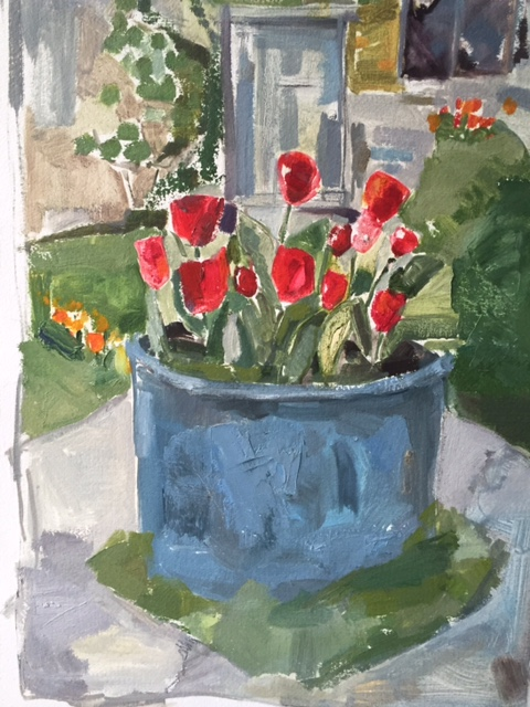 Tulips and Copper Pot