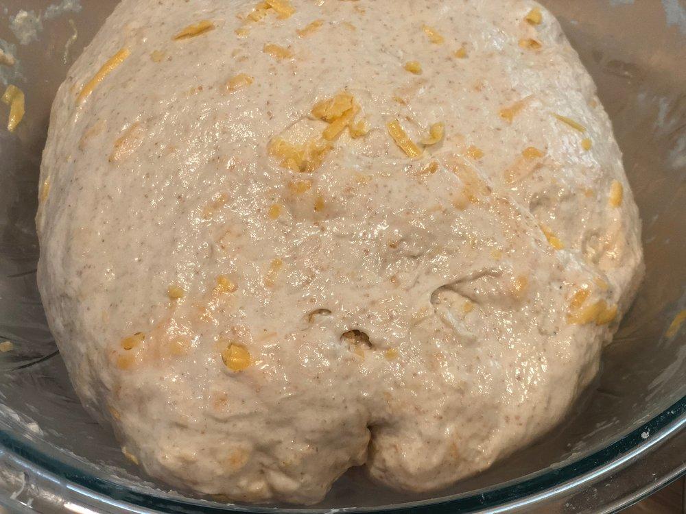 Dough after first fold