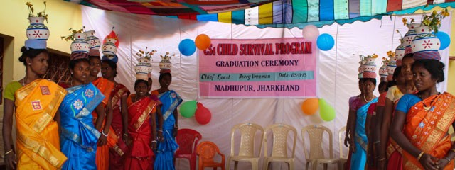 """Graduates of our partner  """"Child Survival Program"""" near Madhupur, India tell their stories through music and dance."""
