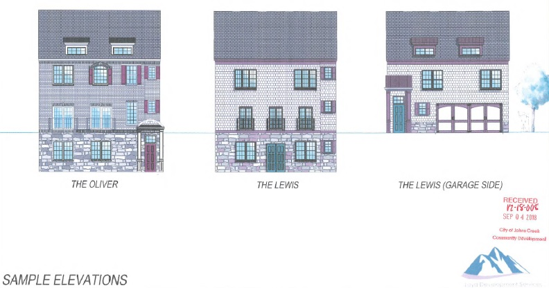 Elevations of homes in proposed development