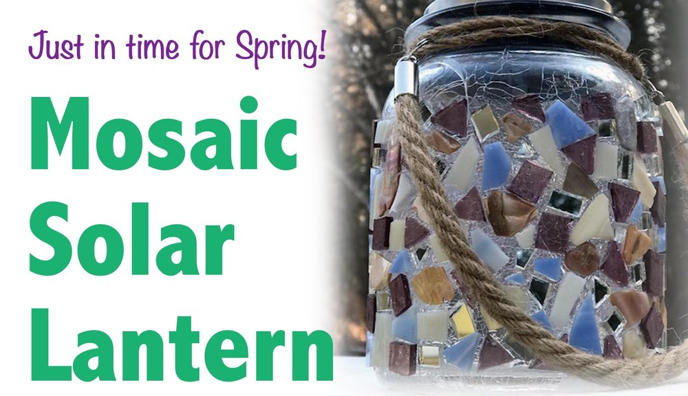 Thursday, April 25th  6-8pm  $25 per person  Just in time for Spring. Make your own hanging solar lantern using mosaic tiles!  Perfect for outside or indoor decor.  All materials included.  Free wine tasting. Full Glasses available for purchase.