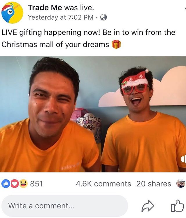 4.5k comments in 10 mins LIVE on Facebook. Thanks @trademe_nz for letting us do this crazy campaign for you!