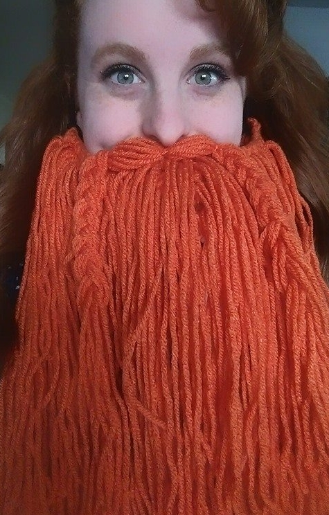 Stephanie and her yarn beard.
