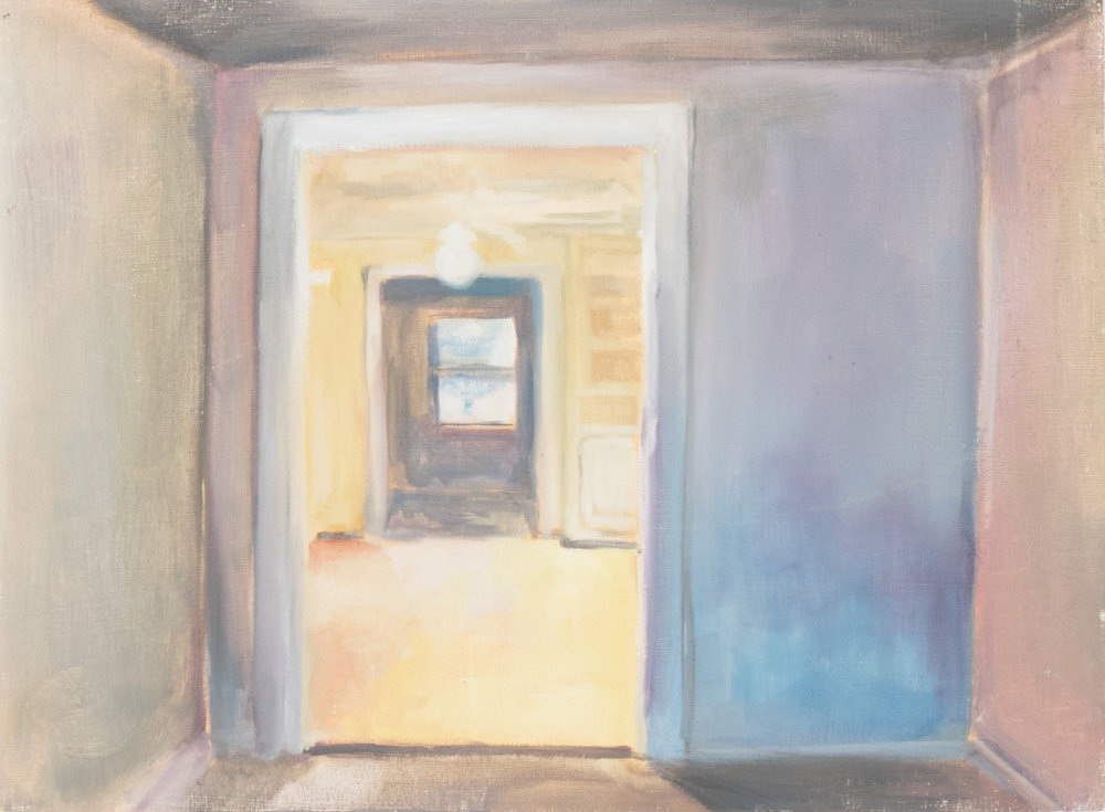 "Whitespace Series: Hallway, 2017, 15""x11"", Oil on Panel, $115"