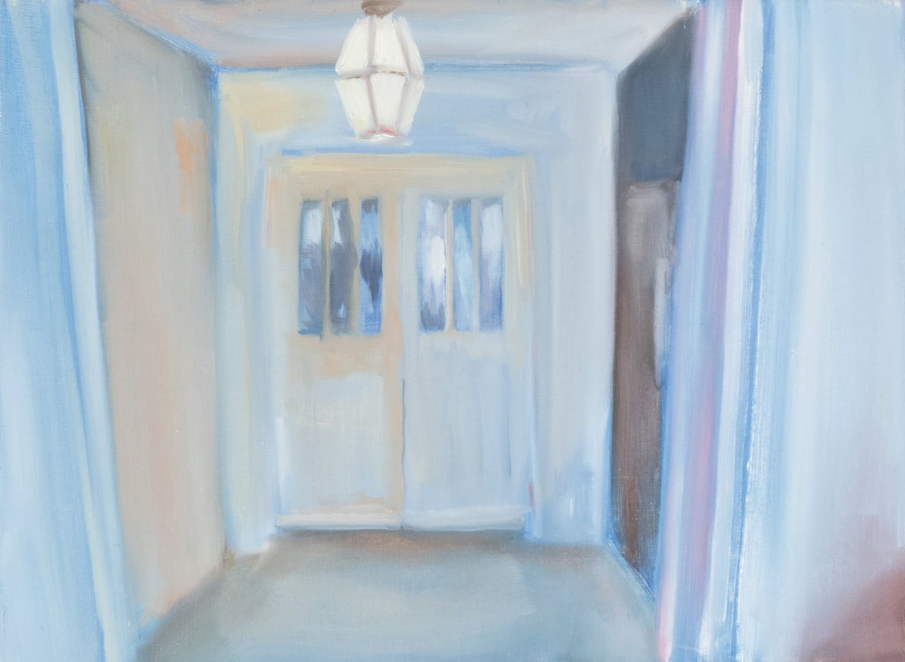 "Whitespace Series: Foyer, 2017, 15""x11"", Oil on Panel, $115"