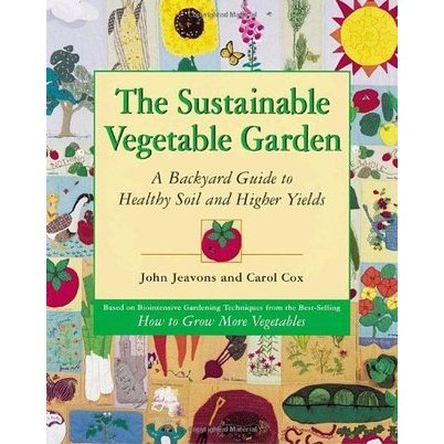 The Sustainable Vegetable Garden - John Jeavons and Carol Cox offer a less technical version of HTGMV.Written for both the beginner and the experienced gardener, this new book shows how to cultivate 11 commonly grown vegetables, calorie crops and compost crops in 100-square-foot plots using organic, soil-enriching methods.The authors discuss biointensive gardening theory, preparing garden beds, composting, starting seeds, growing crops, and collecting seeds.They offer detailed instructions and equations showing how to calculate how many seeds to plant to get the necessary seedlings to fill the suggested garden plans and suggest ways to customize garden plots.While the equations are easy to follow, the calculations and numerous charts may intimidate the beginner, who may also need more information on gardening techniques. Recommended especially for experienced gardeners interested in biointensive gardening.Purchase in CanadaPurchase in USA
