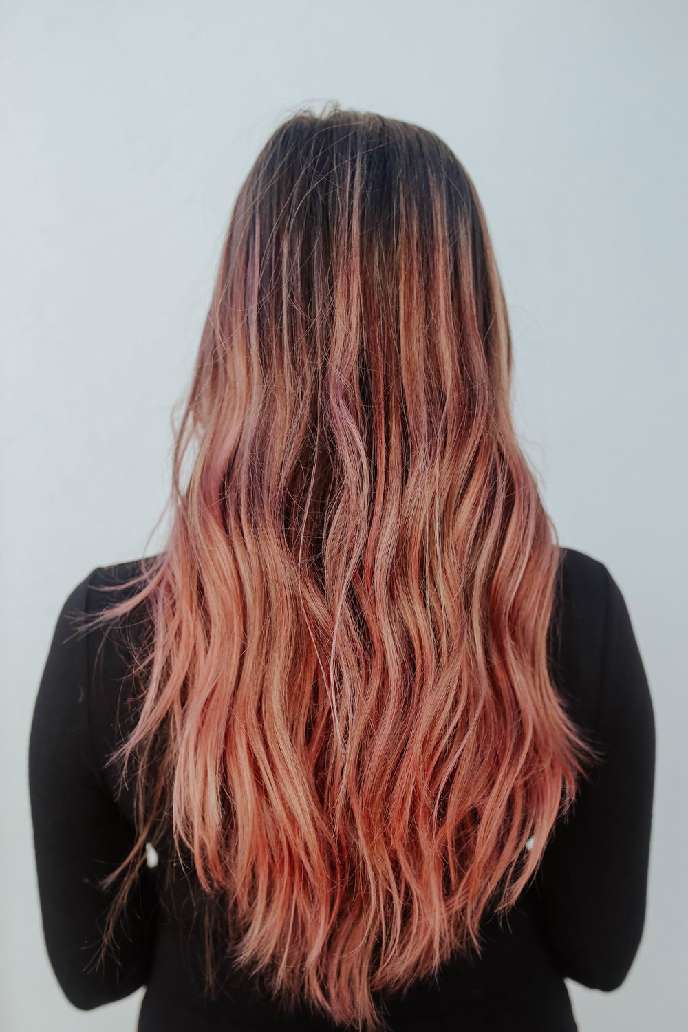 (3) rose gold hair - saving arguably the most fun for last 💖 i tried out this product last summer and not only was it so fun and easy to do, but it became one of my most popular posts to date and i still get questions about it. see this post to learn exactly how to do it and for all of my tips and tricks, but here is a quick run down:the Rose Gold Temporary Tint is available to buy at Target. you apply it to wet hair - the product is a spray, and you have to spray everywhere that you want the color (it doesn't blend out or transfer around). the color will last for 3 washes (about a weekend) and won't damage your hair, color treated or not. the color will show up best on lightened hair but will still add a tint if your hair is brunette. and who doesn't want pink hair on Valentine's Day? ha
