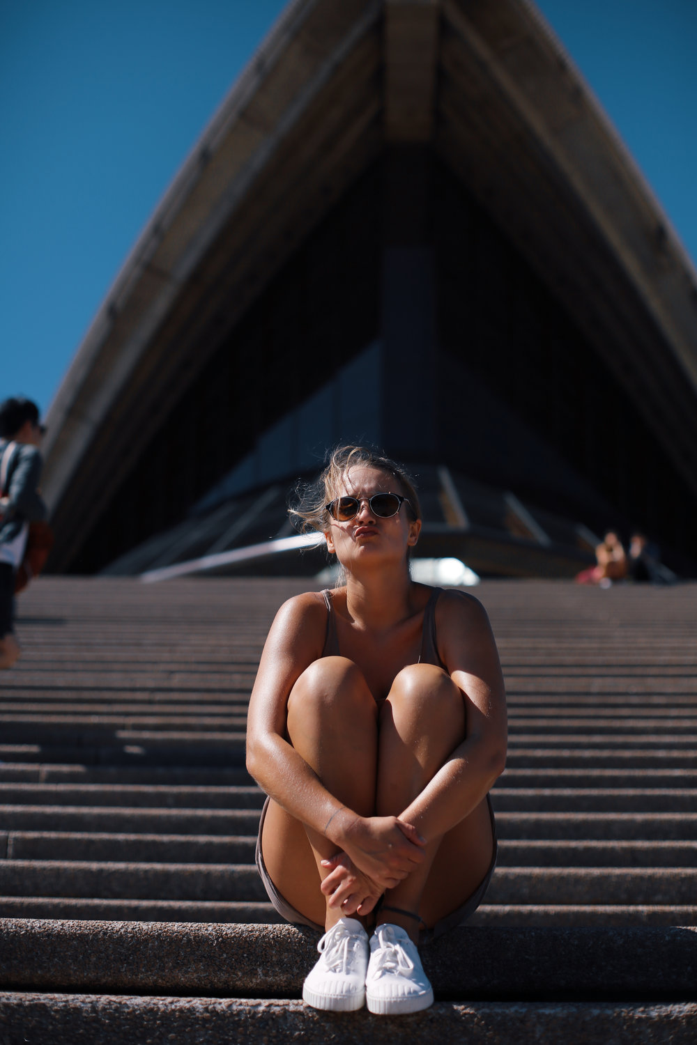 opera house and a girl in summer