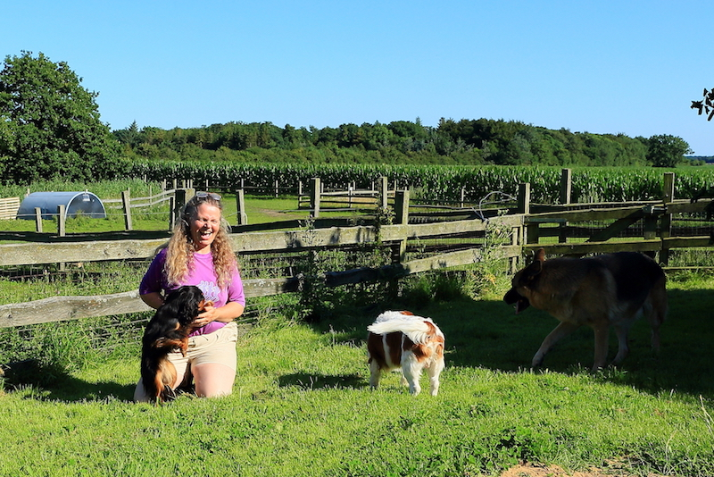 Hundepension - Kennel Roager - fælleshygge hunde og Anita i lille have 2.JPG