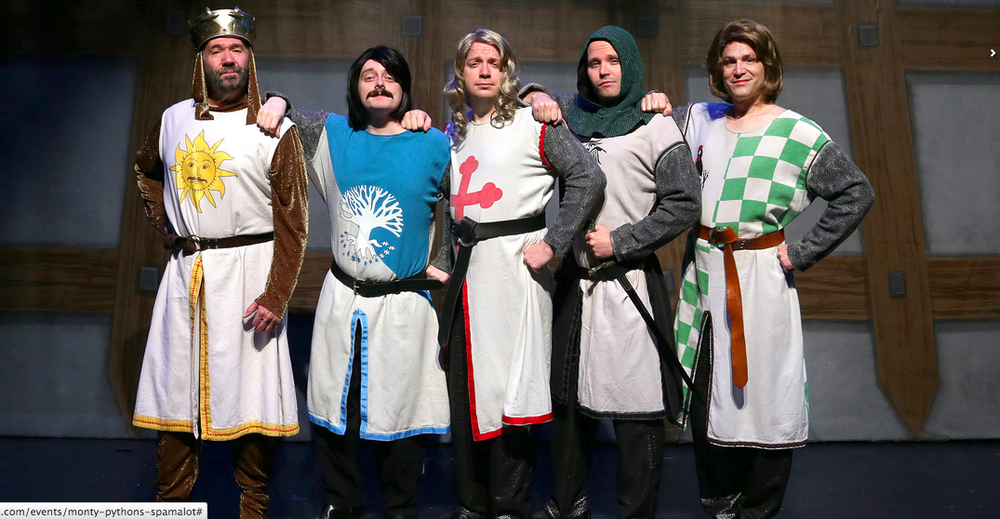Featuring Kent Fieldsend as King Arthur (left), Kyle Bochart as Sir Bedevere, Charlie Reese as Sir Galahad, Mark Maddy as Sir Lancelot, and Brad Church as Sir Robin (right)