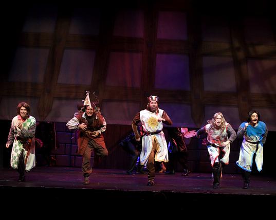 Featuring Brad Church as Sir Robin (left), Brett Spahr as Patsy, Kent Fieldsend as King Arthur, Charlie Reese as Sir Galahad, and Kyle Bochart as Sir Bedevere (right)