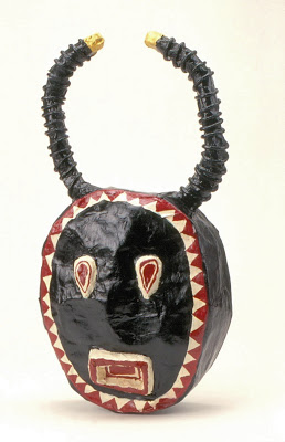 The ten-year-old student who made the mask above was fascinated with African moon masks.