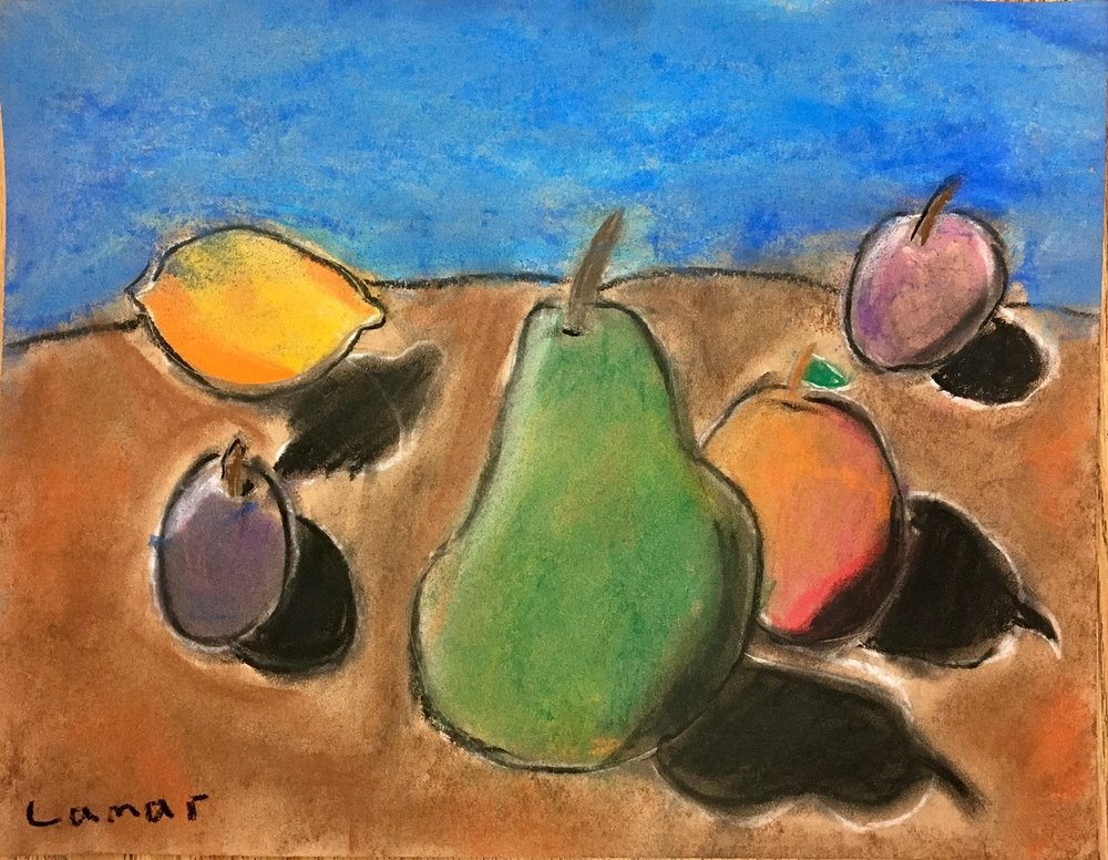 Pastel Still Life Drawing Inspired by Paul Cézanne's work, Third Grade