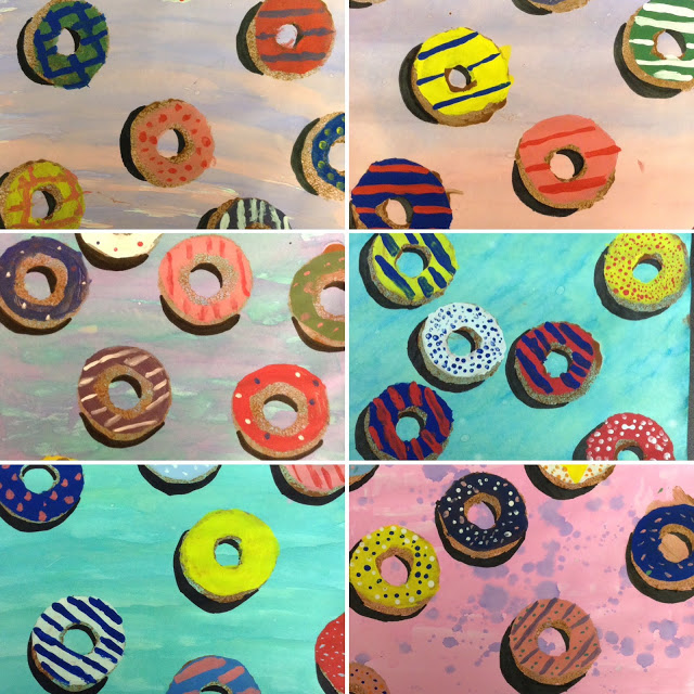 Fifth grade donut paintings