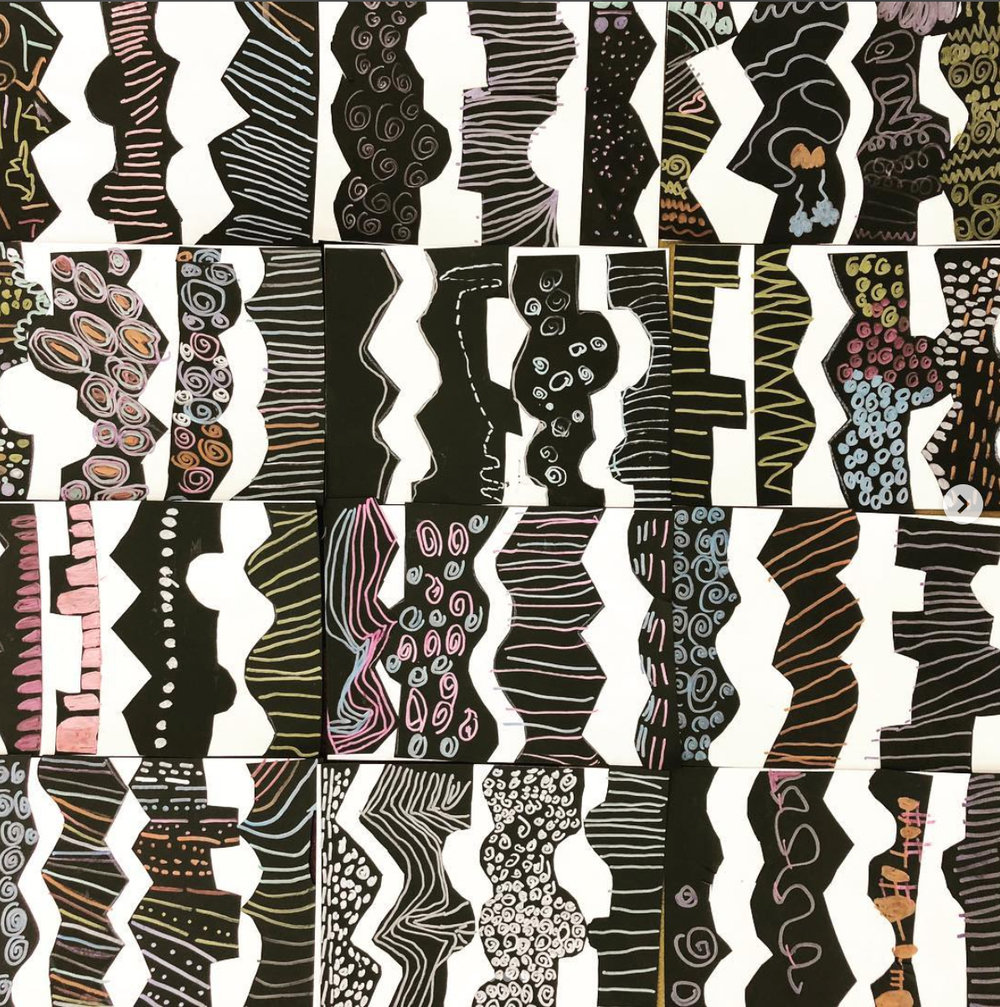 Kindergarten line collage project